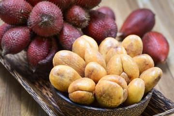 Close-up of Salak or Salacca zalacca tropical fruit