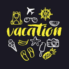 Vacation. Modern hand drawn lettering.