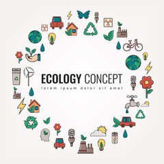 Ecology and environment icons. Round thin line ecology symbol. Hand drawn illustration. Vector