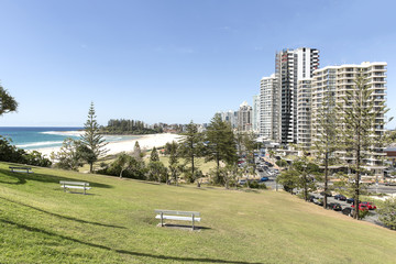 Gold Coast Coolangatta beach and Snapper Rocks, view from Kirra Point Lookout