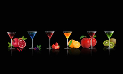Fresh juice from Strawberry, Orange, Kiwi, Blue berry, Apple and Pomegranate in glass isolated on black background, vector illustration.