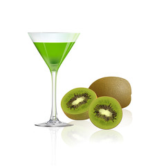 Kiwi juice and fresh kiwi isolated on white background, vector illustration.