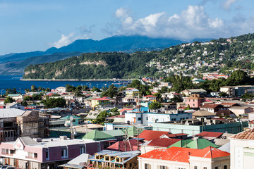 Colorful Buildings and Hills of Dominica