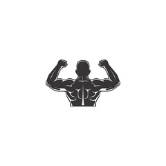 abstract body builder fitness logo design