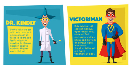 Crazy scientist and superhero victory. Funny characters. Cartoon vector illustration.