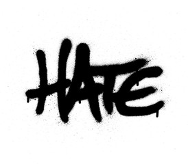 graffiti sprayed hate word in black on white
