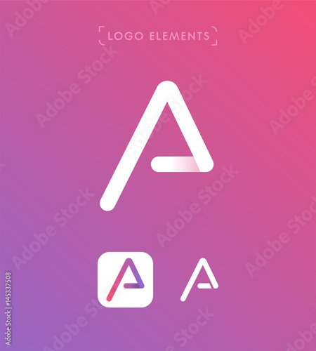 Abstract Triangle Letter A Origami Style Logo Template