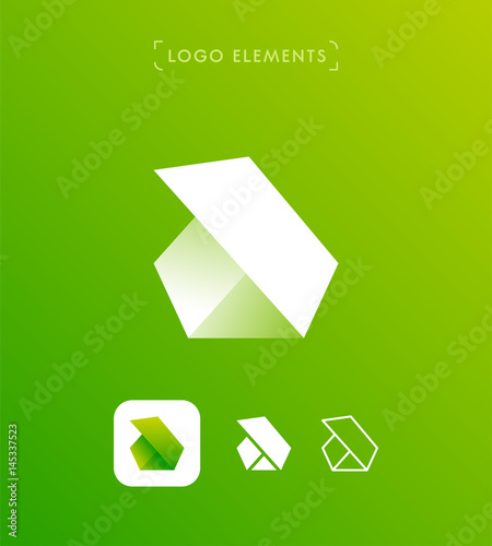 Abstract Triangle Letter B Or A Origami Style Logo Template