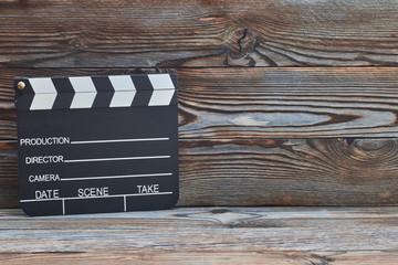 Movie production clapper board