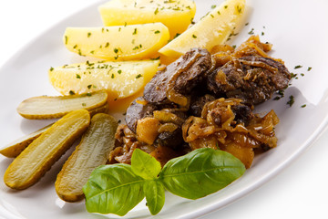 Roast meat with potatoes