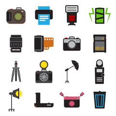 Camera and accessory icon set vector illustration