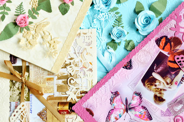 Pile of decorative paper cards, valentine, wedding