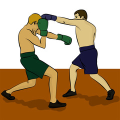 Two men are boxing. Olympic sport eps 10 illustration