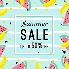 summer sale design template. pattern with fruits, banana, watermelon and geometric elements in memphis style background, vector.