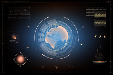 futuristic. design of  futuristic sci fi interface in earth concept