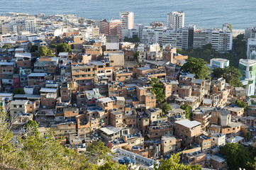 A scenic view of Ipanema from behind the hillside favela community of Cantagalo in Rio de Janeiro, Brazil