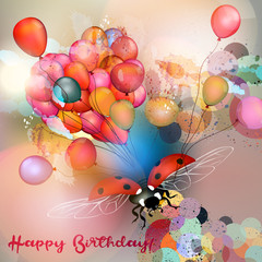 Birthday greeting card or vector illustration with colorful balloons and ladybug