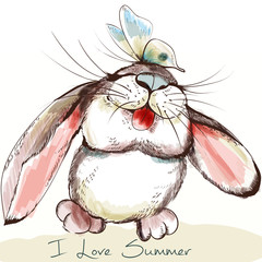 Cute and pretty bunny with butterfly enoying summertime. I love summer, childish rustic illustration