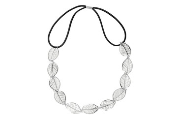 Elastic head band with silver chain leaf-design, isolated on white background, clipping path included