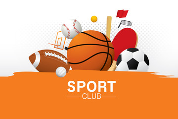 Vector sport club with sports ball and equipment.