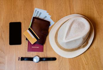 Travel accessories. Hat, wallet, passport  prepared for the trip