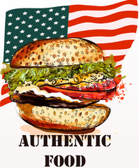 Hand drawn hamburger fresh and tasty on USA flag back.Authentic food