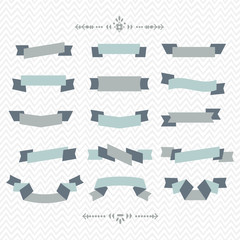 Teal and gray ribbon banners design elements set on chevron pattern background