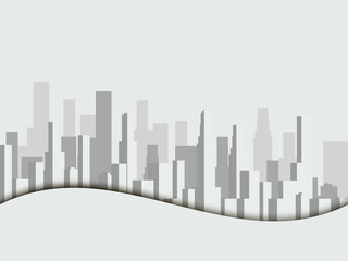 Panorama of city with skyscrapers. Megalopolis. City landscape. Vector illustration