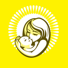 Happy mother and kid - beautiful vector illustration, graphic image, computer icon, label design element.