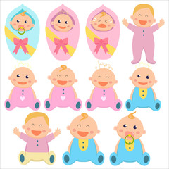Baby flat icon. Baby boys and baby girls. Newborns, toddlers. Vector illustration.