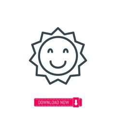 Smiling sun icon, vector