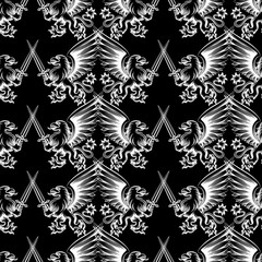 Seamless pattern with white hand drawn heraldy gryphon with sword on black background. Vector illustration