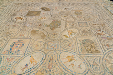 Mosaic of The Heracles twelve labors at Roman ruins of Volubilis near Meknes, Morocco, Africa