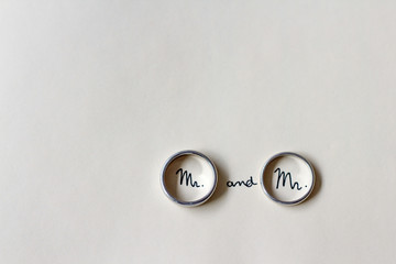 Two men's rings at a gay wedding with the words Mr and Mr written inside