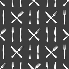 Kitchen or food seamless pattern with fork and knife. Vector illustration
