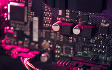 electronic circuit board with magenta led light