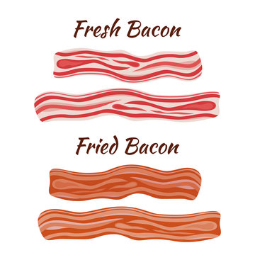 Fresh and fried bacon. Cartoon flat style. Healthy tasty breakfast.
