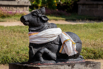 Nandi bull statue in hindu temple