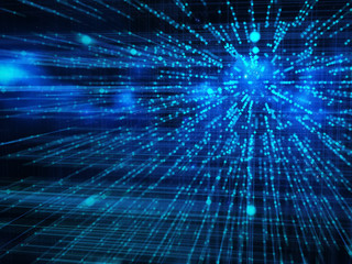 Big data and internet communication concept, science and technology background with motion effect of blue lights