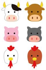 牛・豚・鶏のイラスト