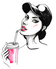 Girl with a soft drink
