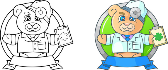 Cartoon doctor teddy bear emblem