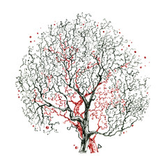 Beautiful branches tree without leaves. Nice autumn tree. Good idea for tattoo. Drawn by hand.