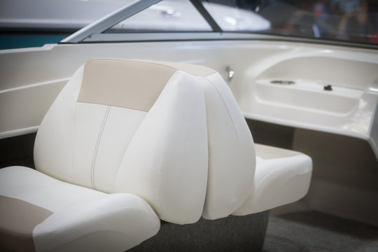 Leather seats on a luxury yacht