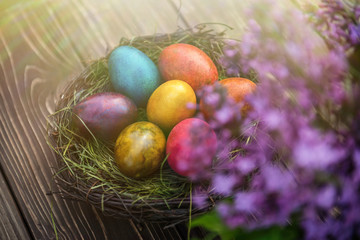 Spring bouquet of flowers and Easter eggs