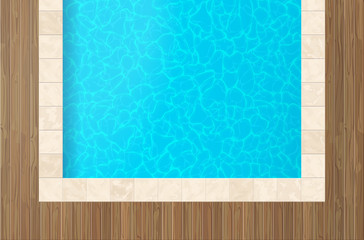 swimming pool wooden floor with blue water  top view
