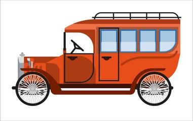 Vintage orange old mini bus isolated on white