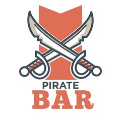 Pirate bar flat logo label isolated on white