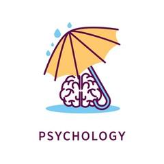 Psychology logo design with human brain under umbrella during rain