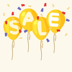Flying balloons, concept of sale for shops in flat style. Four orange flying party balloons isolated with text sale on transparent background. Colored confetti. Discount concept vector illustration